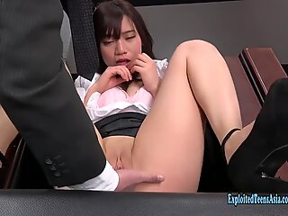 Jav inexperienced Kyouno Gets mischievous In The Office thrusts Vibrator Up Herself